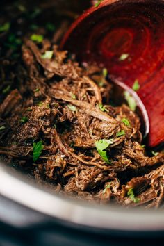 My recipe for pressure cooker barbacoa beef. I make my barbacoa beef in the instant pot. Just toss it all in and you get better than Chipotle shredded beef.