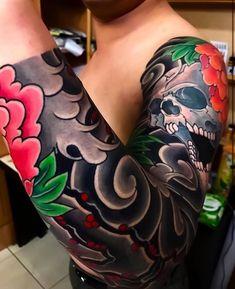 Sleeve tattoos, traditional japanese tattoo sleeve, blackout tattoo, full s Traditional Japanese Tattoo Sleeve, Japanese Tattoo Designs, Japanese Tattoo Art, Japanese Sleeve Tattoos, Traditional Tattoo, Leg Sleeve Tattoo, Full Sleeve Tattoos, Tattoo Sleeve Designs, Irezumi Tattoos