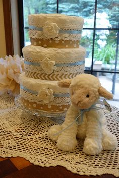 Diaper Cake with burlap and crocheted lace. Lamb Baby Shower.