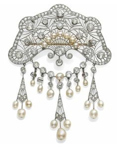 BELLE EPOQUE DIAMOND, PEARL, PLATINUM AND GOLD BROOCH. ca. 1910