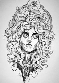Medusa Tattoo Design, Tattoo Design Drawings, Art Drawings Sketches, Tattoo Sketches, Tattoo Designs, Cute Tattoos, Leg Tattoos, Black Tattoos, Body Art Tattoos