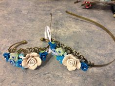 Bronze filigree bangle bracelet and headband set with polymer clay flowers