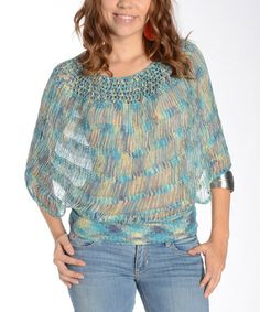 Take a look at this Blue Crocheted Cape-Sleeve Top - Women by Shoreline Wear on #zulily today!