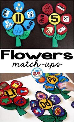 Flowers Initial Sound and Number Match-Ups Preschool Learning, Fun Learning, Preschool Kindergarten, Preschool Printables, Literacy Stations, Literacy Centers, Writing Centers, Preschool Centers, Alphabet Activities