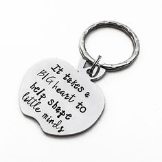 End of year teacher gift / Teacher Appreciation Gift / Personalized Gift / It Takes A Big Heart To Help Shape Little Minds key chain by SavannahRaeDesign on Etsy