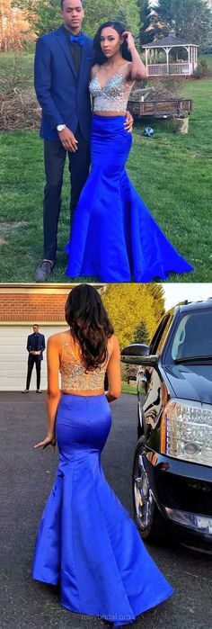 Two Piece Prom Dresses Royal Blue, Long Party Dresses Sexy, Trumpet/Mermaid Formal Dresses V-neck, Satin Tulle Evening Gowns Crystal Detailing