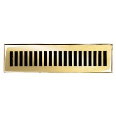 "This polished brass finish solid brass floor register heat vent cover with a contemporary design fits 2 1/4"" x 12"" x 2"" duct openings and adds the perfect accent to your home decor."