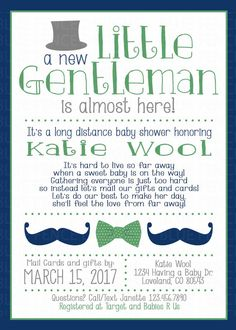 Charming Long Distance Baby Shower Invitation Baby Shower By Mail