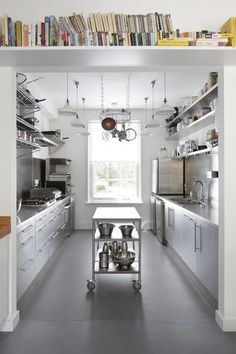Right now galley kitchens are prevalent in an apartment or small home. Galley kitchen remodel ideas must be efficient for cooking also for the meal space. Bakery Kitchen, Restaurant Kitchen, New Kitchen, Kitchen Decor, Island Kitchen, Kitchen Small, Kitchen Ideas, Kitchen Layouts, Kitchen Shelves