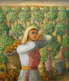 (Palestinian Orange from Yafa City ) by Sulaiman Mansour, Artist from Palestine