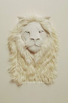 Paper Art remarkable lion, I love his mane Use X-acto knives and blades from www.pcbsupplies.com