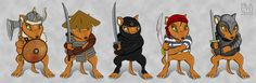 Animal warriors made for a cardgame