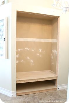 Project Entryway Closet Makeover: Part 2 - The House of Smiths Closet Bench, Closet Nook, Hallway Closet, Front Closet, Closet To Mudroom, Bathroom Closet, Laundry Closet, Master Closet, Laundry Rooms