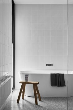 Modern Timber-Clad Home Inspired by Traditional Barn: Two Pavilions 13 White Bathroom Tiles, Modern Bathroom, Unit Bathroom, White Bathrooms, Vintage Modern, White Square Tiles, Clad Home, The Design Files, Home Decor Bedroom