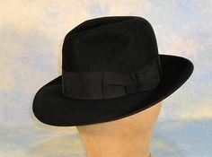 Classic Film Noir Vintage 1948 KNOX Black Fur Felt Fedora Hat - Mens Vintage Fashions on Ruby Lane