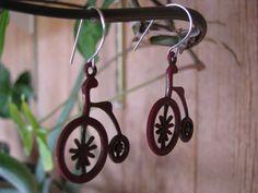 Red Vintage Bicycle Earrings via Etsy