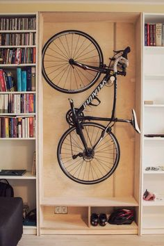 Birch Plywood bike hanger, Inspired by the billy bookcase. BY JUANMURPHY Bycicle Illustration, Bycicle Art # Bike Storage Ikea, Bike Storage Apartment, Outdoor Bike Storage, Indoor Bike Rack, Bicycle Storage, Garage Storage, Bike Storage In Closet, Bike Storage Cabinet, Billy Ikea
