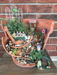 Fairy garden made with broken pots