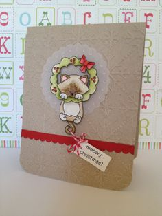 Inspired by Kristina Werner. Xmas handmade card with Newton's Nook Designs stamps.