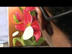 Pintura em tela para iniciantes - como pintar lirios bem vermelhos - Com...