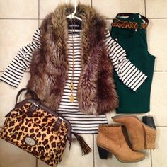 winter outfit ♡ there is something about the fur vest (faux, of course) and forest green pants that I adore! Fall Winter Outfits, Winter Wear, Autumn Winter Fashion, Christmas Outfits, Casual Winter, Christmas Gifts, Fur Vest Outfits, Cute Outfits, Outfit Jeans