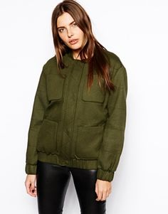 By Zoe Military Style Bomber with Pockets
