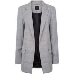 Blazer à carreaux gris et revers des manches contrastés ($47) ❤ liked on Polyvore featuring outerwear, jackets, blazers, checkered jacket, gray blazer, blazer jacket, checked blazer and cuffed blazer