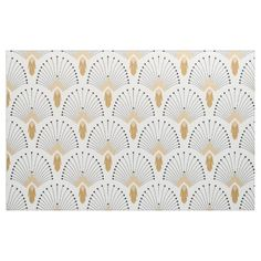 White, Gold and Black Art Deco Fan Flowers Motif Fabric