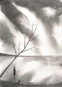 Original watercolour painting signed J Flavell. a4 Size Walking my dog