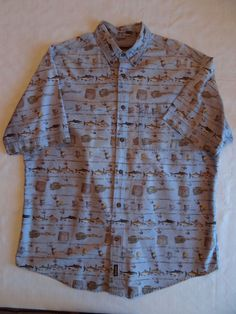 WOOLRICH Men's Casual Shirt Fly Fishing Blue S/S Button Down Size XL EUC #Woolrich #Casual