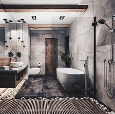 Bathroom Goals ♥👌 Tag friends 👥 Render by Are you looking for a support for your interior and and architectural visuals ? Contact us at email 📩 We would love to help you making your projects looking great ! Start tag be featured in our gallery ✔ Modern Bathroom Design, Bathroom Interior Design, Modern House Design, Industrial Bathroom Design, Modern Bathtub, Rustic Bathroom Designs, Contemporary Bathrooms, Modern Industrial, Industrial Furniture