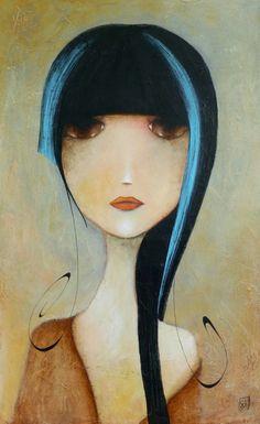 Painting by Armandine Jacquemet Soares (France) Art Journal Inspiration, Painting Inspiration, Pinturas Art Deco, Art Fantaisiste, Art Visage, Photo D Art, Art Et Illustration, Whimsical Art, Drawing People