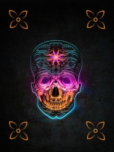 Awesome post about skull art.this one is my fave Neon Flowers, Heavy Metal Art, Sugar Skull Art, Sugar Skulls, Skull Artwork, Skull Wallpaper, Skulls And Roses, Flower Skull, Skull Tattoos