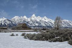 John Moulton Barn And The Grand Tetons by  Belinda Greb @bradiant