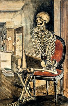 Paul Delvaux (1897-1994)  The Red Skeleton Siting on the Red Chair (Squelette assis nu sur la chaise rouge), N/D