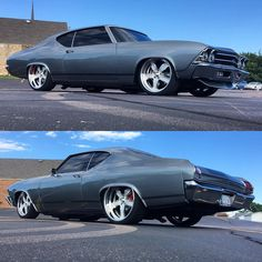 #BecauseSS 69 chevelle grey slammed bagged tucked wheels billet, spoiler
