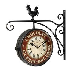 Adeco Vintage-Inspired Double-Sided Decorative Rooster Round Iron Wall Clock #Adeco #ArtsCraftsMissionStyle