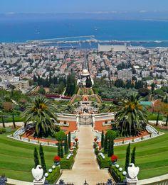 Hanging Gardens of Haifa, Israel - amazing view! <3