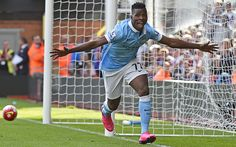 Kelechi Iheanacho celebrates his first premiership goal after scoring against Crystal Palace.