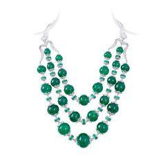 Maharani necklace by Nirav Modi combines graduated, rare, vivid green emerald beads - a total of more than 870 carats