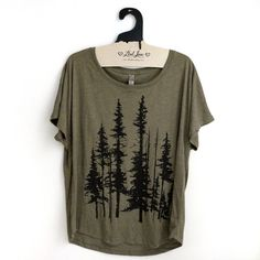 2XL   Tri-Blend Olive Dolman Tee with Evergreen by MadLoveShop