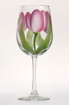 Pink & Cream Tulips hand-painted wine glass http://www.wineflowersglass.com/collections/wineglasses/products/pink-cream-tulips $19.95