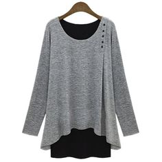 Stylish Scoop Neck Faux Twinset Design Long Sleeve T-Shirt For Women, LIGHT GRAY, 2XL in Tees & T-Shirts | DressLily.com