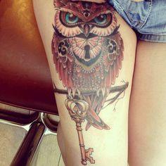 Owl+With+Key+Tattoos+For+Girls.jpg (600×600)