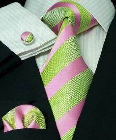 Men's pink and green silk tie set (wedding)