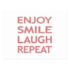 Enjoy smile laugh repeat - red. postcard - christmas cards merry xmas family party holidays cyo diy greeting card #christmaslaughs