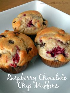 Num's the Word: These Raspberry Chocolate Chip Muffins are delicious.  They make a quick breakfast or snack and are a great way to get some extra fruit into your diet!