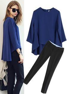 2Pcs Blue Loose Chiffon Top Black Slim Pants Bell Sleeve Shirt, Bell Sleeve Top, Dressy Pants, Casual Outfits, Casual Clothes, Slim Pants, Chiffon Tops, Black Tops, My Style