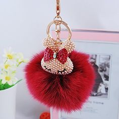 Amazon.com : E-accexpert® Lovely Rabbit Head with Genuine Fox Fur Key Chain Keychain for Car / Key Ring / Bags (Wine Red) : Office Products