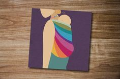 Babywearing Greeting Card, New Baby Art Card, Baby Wrap Gift - pinned by pin4etsy.com